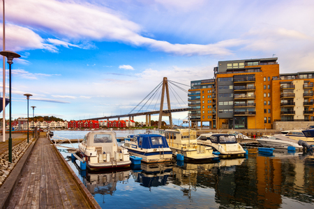 Sailboat marina with many moored sail yachts in Stavanger, Norway. Stock Photo