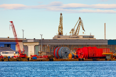 subsea: Cable storage in port of Stavanger, Norway. Stock Photo