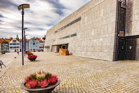 A beautiful Norwegian architecture in cloudy day in Stavanger. Stock Photo