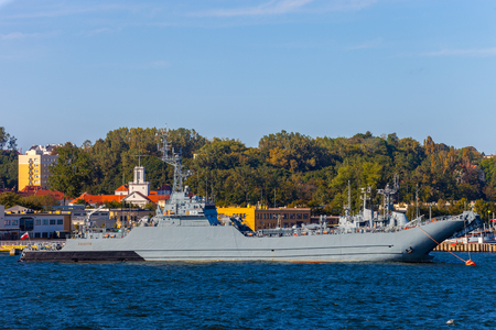 GDYNIA, POLAND - SEPTEMBER 17, 2016: Warship transport-mine ORP Krakow was built in 1989 in the Northern Shipyard in Gdansk.