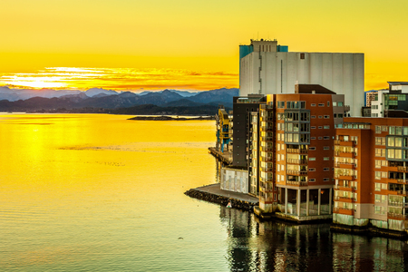 Stavanger panorama of the bridge in the background, Norway. Stock Photo