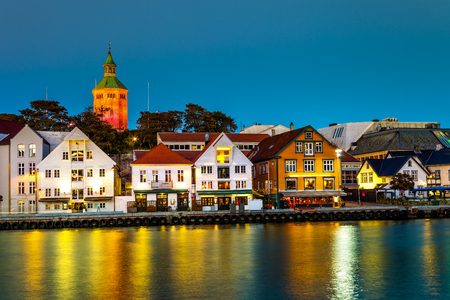 Stavanger at night - Charming town in the Norway. Stock Photo