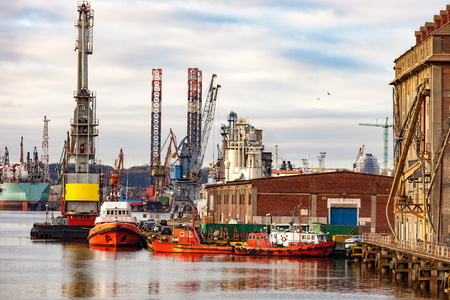 lading: Port on a cloudy day at Gdansk, Poland.