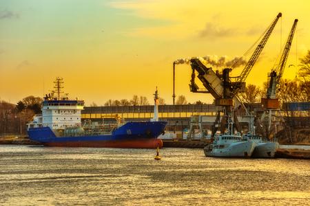 ship bow: Ship loading grain in Port of Gdansk, Poland.