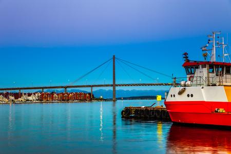 Stavanger panorama of the bridge in the background, Norway. Stock Photo