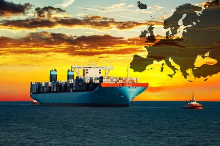 mapas conceptuales: Ship on sea and Europe map background - shipping travel concept. Foto de archivo