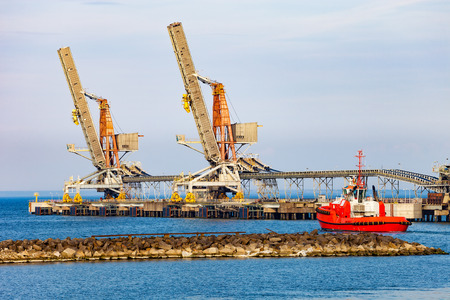 Coal pier at morning in port of Gdansk, Poland. Stock Photo