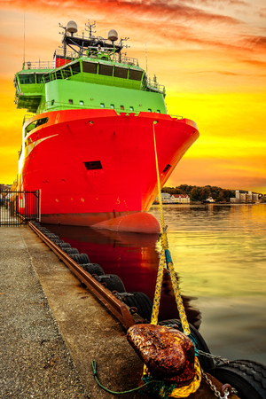 Ship moored at the quay in the port of Stavanger, Norway. Stock Photo