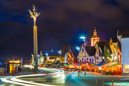 Stavanger at night - Charming town in the Norway. Reklamní fotografie