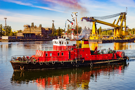 Fire rescue ship in port of Gdansk, Poland. Reklamní fotografie