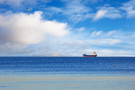 A cargo ship floating on a calm sea.