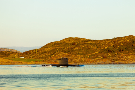 Submarine arriving at port in Norway.