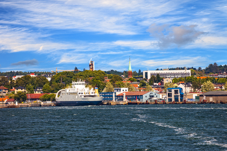 View from ship on port Moss in Norway. 스톡 콘텐츠