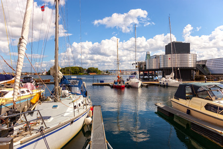 Yacht marina with many yachts anchored in Stavanger, Norway.