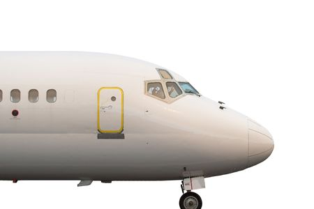 jetliner: Close up of the cockpit and exit door of a commercial jetliner isolated on white