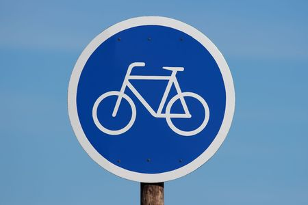 Bicycle allowed sign at the Beach
