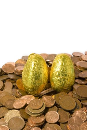 coinage: Golden eggs on coinage. Success in business Stock Photo
