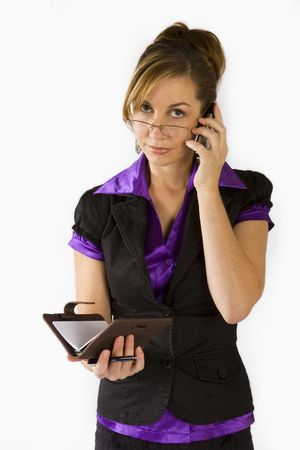 Business woman talking on cellular phone and organiser in hand