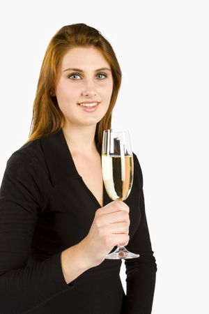 ingest: Woman toasting with a glass of champagne