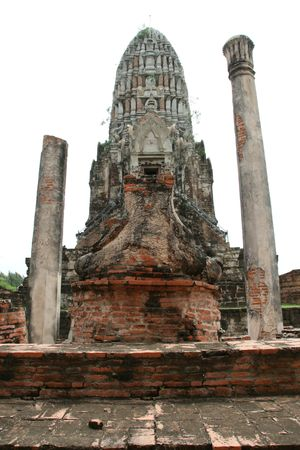 the ruin buddha figure at Wat Ratchaburana Temple, Ayutthaya, Thailand