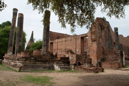 the ruin architecture at Wat Ratburana Temple, Ayutthaya, Thailand