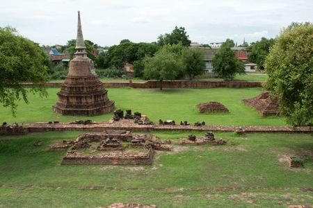 Ancient pagoda (Chedi) at Wat Ratburana Temple, Ayutthaya, Thailand Stock Photo