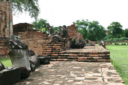 the ruin buddha figure at Wat Ratburana Temple, Ayutthaya, Thailand Stock Photo