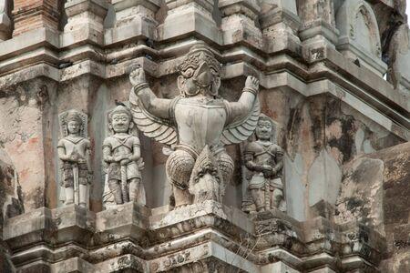 the garudas stucco on the principle Stupa at Wat Ratburana Temple, Ayutthaya, Thailand
