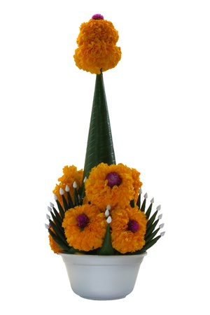 rice offering (baisri) with marigolds for call morale back, thai tradition religion