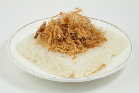 sweet sticky rice sprinkle on top by sweet split pork or shrimp Stock Photo