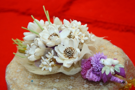 the artificial bouquet for thai cremation ceremony use as the firewood