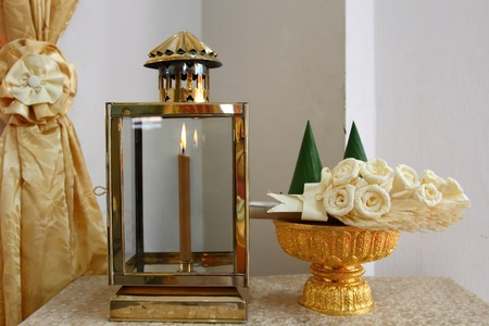 the lamp and the artificial bouquet for firewood in the funeral ceremony Stock Photo