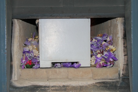 the coffin put in the cremate Stock Photo