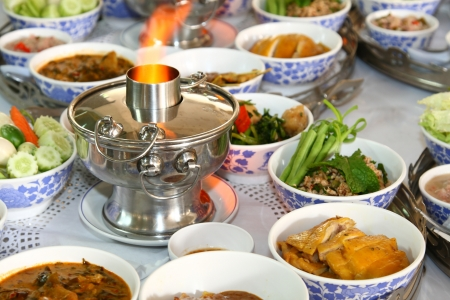 thai style food set with the spicy hot pot Stock Photo