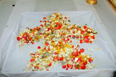 ashes of cremated dead on the white calico Stock Photo