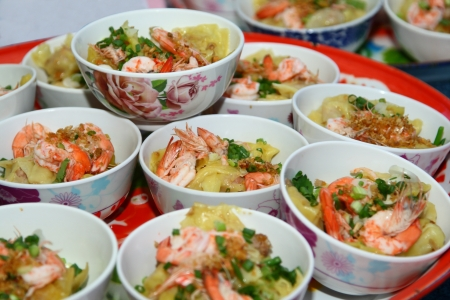 chinese food,square sheet noodle with shrime in the bowl  kiew khung