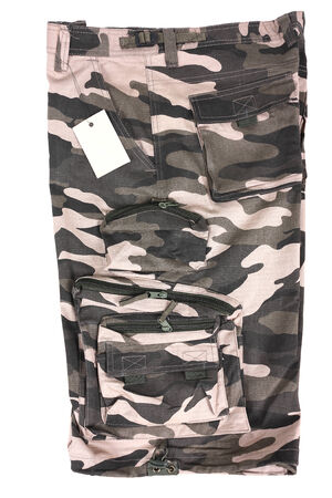 abstract light brown camouflage military shorts, isolated Stock Photo