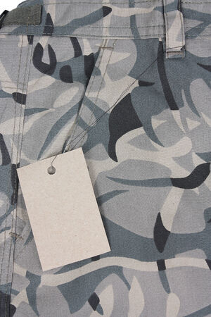 closeup pale green camoflauge pocket pants with tag Stock Photo