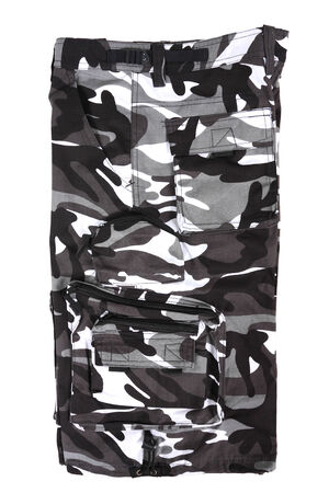 abstract B&W camouflage military shorts, isolated photo