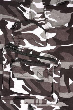 closeup white pocket camouflage shorts