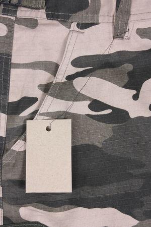 camoflauge: closeup brown tone camoflauge pocket pants with tag