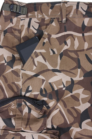 mobile phone in the pocket of brown camoflage shorts