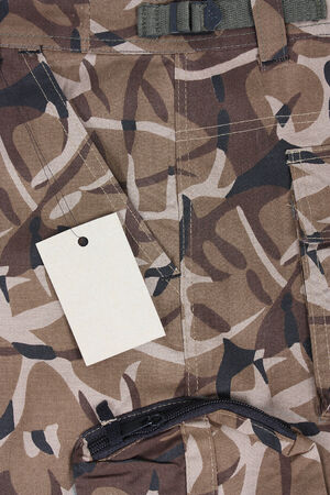 close-up brown camoflage pocket pants with tag