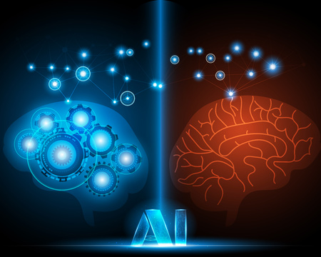 AI light,Human and Robot brain, over blue background with network online system,Artificial intelligence and Machine learning concept
