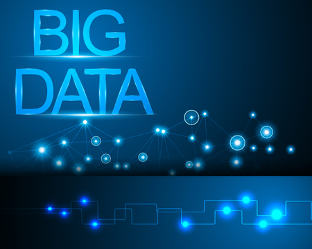 Big data concept and Network connection system, information blue background and online banner Vectores
