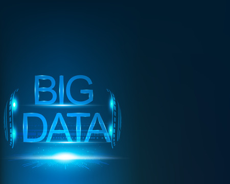 Big data concept and Network connection system, Digital transformation,blue background