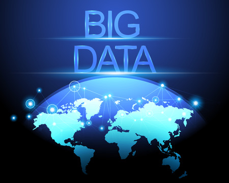 Big data concept and world map with connection digital network system blue background