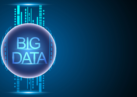 Big data analytics concept and information technology Network connection system blue background