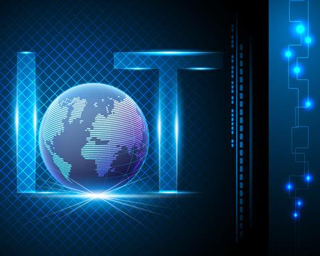 Concept de l'Internet des objets (IOT), symbole de texte de lettre légère avec centre de données global, fond bleu avec bannière en ligne de réseau