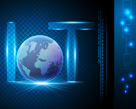 Internet of things (IOT) concept,light letter text symbol with Global data center, Blue background with network online banner